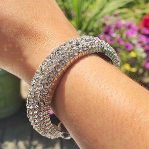 Vintage Embedded Rhinestone Round Cuff Bracelet